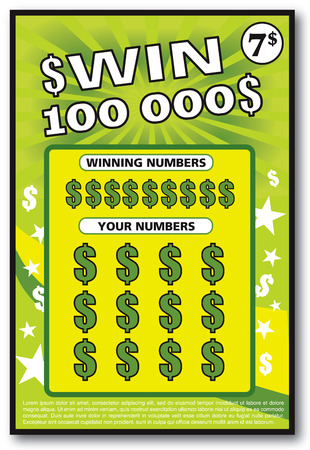 instant lottery ticket scratch off vector illustration no shadow on the vector and lorem ipsum is use as tempory text Illustration