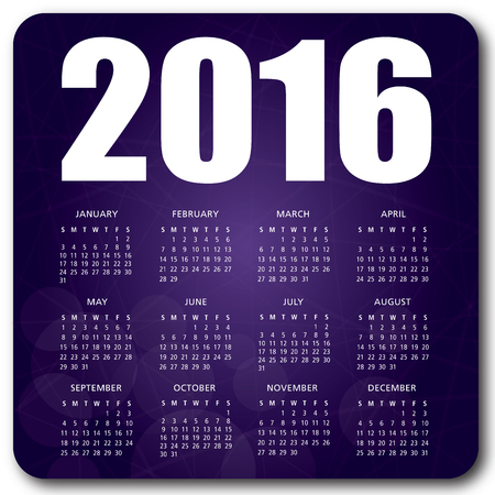 2016 English calendar over purple background vector no shadow on the vector version 10