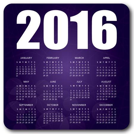 scheduler: 2016 English calendar over purple background vector no shadow on the vector version 10