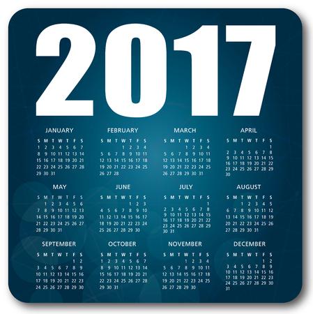 2017 English calendar over blue background vector