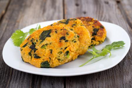 vegetarian hamburger: Sweet potato kale quinoa patties Stock Photo