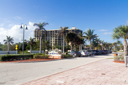pierce: Fort Pierce, Florida, USA - December 28, 2015: view of Fort Pierce Florida road A1A in front of South Beach Park at daytime