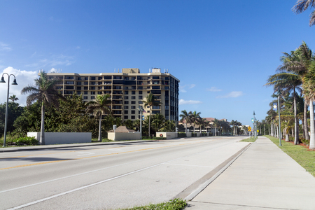 pierce: Fort Pierce, Florida, USA - December 28, 2015: view of Fort Pierce Florida road A1A in frond of South Beach Park at daytime