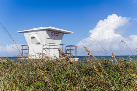 pierce: Life Guard station closed at Fort Pierce beach, Florida USA Stock Photo