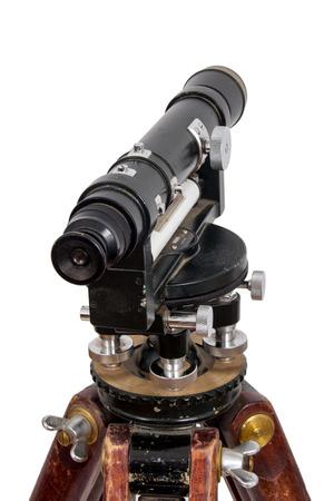 tachymeter: vintage theodolite over white background surveyor level equipment 1960 Stock Photo