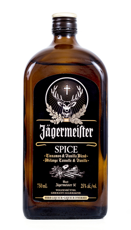 illustrative material: Sorel-Tracy, Canada - January 21, 2016: Glass bottle of Jagermeister spice dark liquor. Jagermeister is a german digestif made with herbs and spices. Editorial