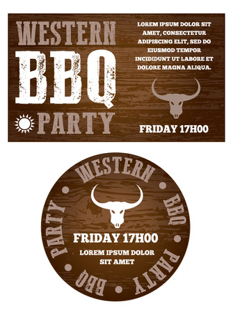 western theme: Western BBQ party invitation with transparency and text is outlined eps 10