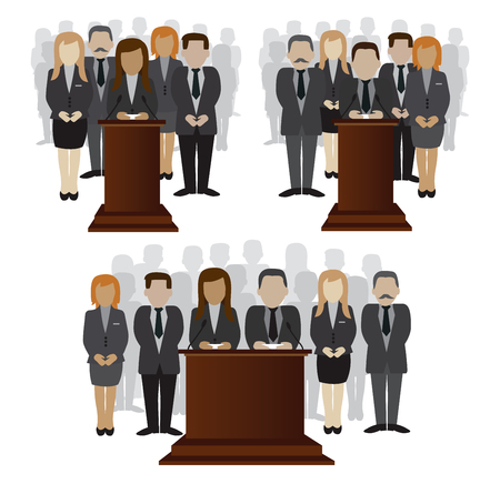 political and social issues: vector flat illustration of a party candidate or leader and electorate crowd
