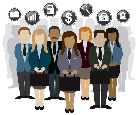 business and finance related peoples and silhouette vector