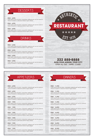 Restaurant menu over grey wood background Text is outlined version CS10 eps.