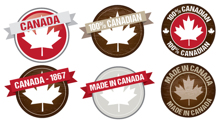fabrication: set of Canada flag labels designs