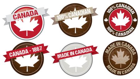 canada stamp: set of Canada flag labels designs