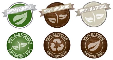 version: green environment icon label vector set version 10 Illustration