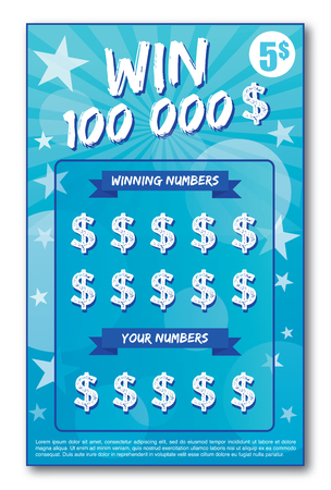 instant lottery ticket scratch off vector illustration no shadow on the vector and lorem ipsum is use as tempory text Vettoriali