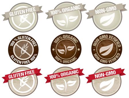 Satz von Briefmarken Icon-Design für Produkte Bio, glutenfrei und natürlich. Text skizziert Vektorgrafik