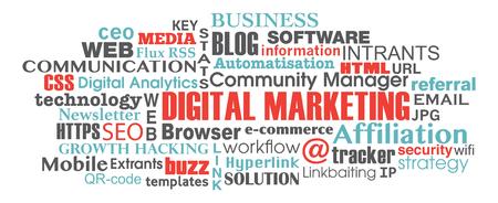 keywords link: digital marketing concept word tag cloud illustration vector Illustration