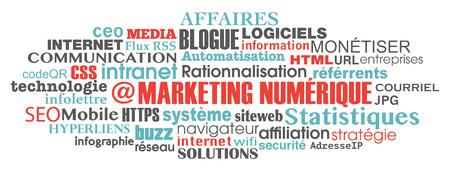 keywords link: french digital marketing concept word tag cloud illustration vector Illustration