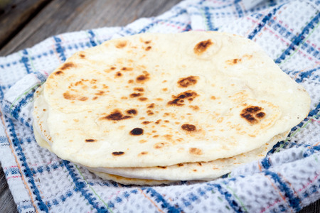 naan: Homemade Naan Flatbread Stock Photo