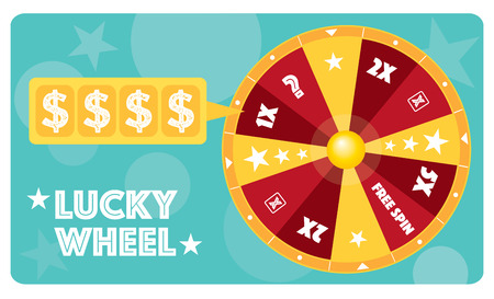 game show: Lucky wheel flat illustration vector text is outlined