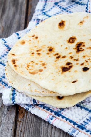 Homemade Naan Flatbread Stock Photo