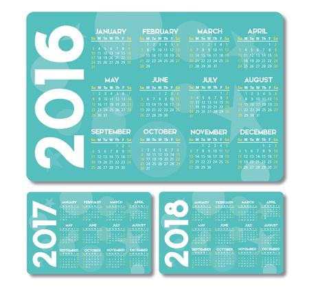 청록색 달력 2016 2017 2018 디자인, 텍스트에 그림자 없음 윤곽선이 지정됩니다.