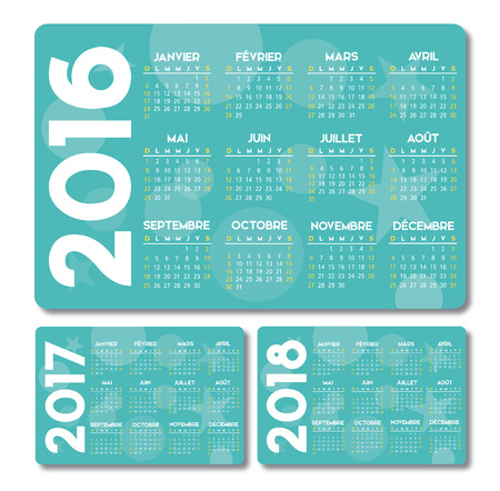 french turquoise calendar 2016 2017 2018 design, no drop shadow on the text is outlined Vettoriali
