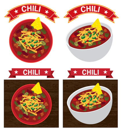 mexican chili con carne bowl illustration text is outline Stock Vector - 56787782