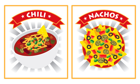 grated cheese: chili and nachos illustration