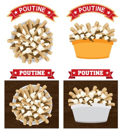 testo Poutine canadese alimentare illustrazione è la versione contorno 10 Poutine è un pasto canadese fast food a base di patatine fritte sugo e ricotta Vettoriali