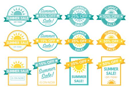 surf shop: summer sale tag collection illustration text is outline