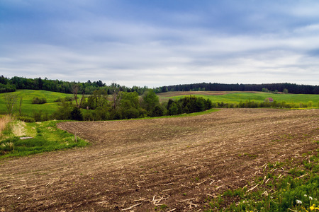 canada agriculture: agriculture field at spring landscape in Quebec province Canada