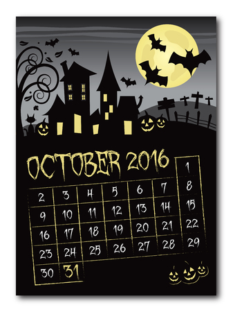 Halloween october 2016 black and yellow countdown calendar poster