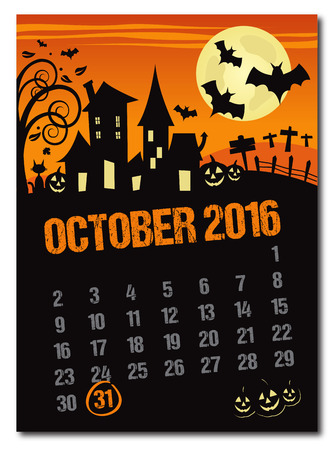 dates fruit: Halloween october 2016 orange countdown calendar poster