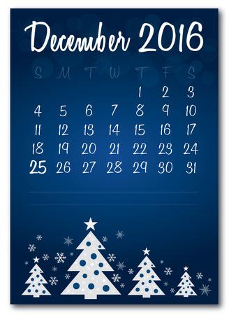 December 2016 christmas blue calendar