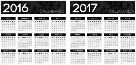 chronological: Spanish textured black calendar vector year 2016 2017