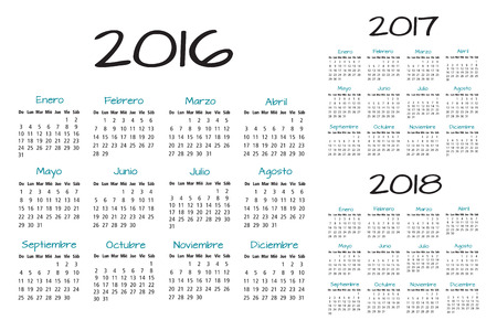 scheduler: Spanish Calendar 2016-2017-2018 vector text is outline version 10