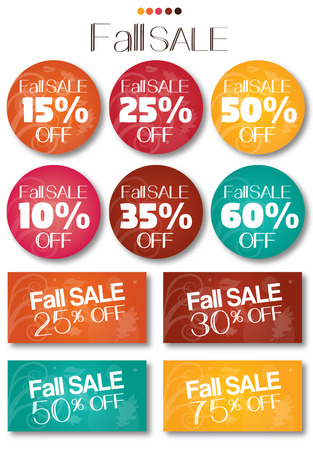 Fall sale tag set vector no shadow. text is outline