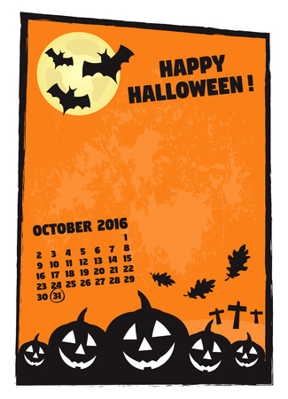 Happy Halloween frame with calendar vector illustration with a grunge texture in the background