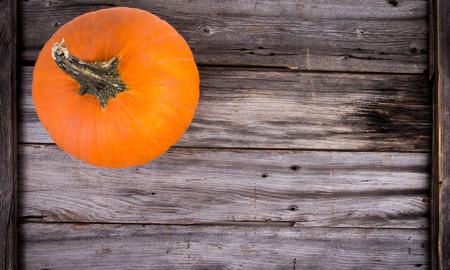 rustic pumpkin on wood high angle view Stock Photo