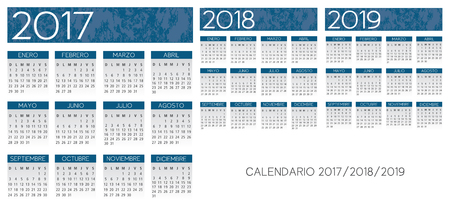 スペイン語テクスチャ bluecalendar ベクトル 2017-2018-2019 年  イラスト・ベクター素材