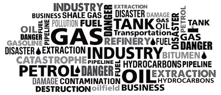 hydrocarbons: gas petrol industry word cloud vector illustration mix of words synonyms in black
