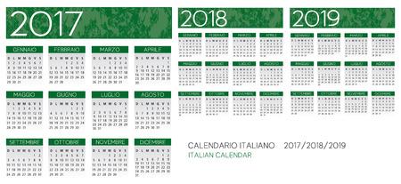 scheduler: Italian Calendar 2017-2018-2019 vector text is outline version 10 Illustration