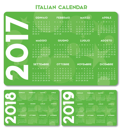 Italian Calendar 2017-2018-2019 vector text is outline version Illustration