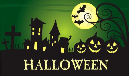 green full moon Halloween vector banner design Illustration