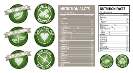 Nutrition fact table and package labels vector design Çizim