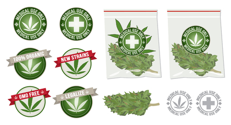 Set of marijuana products with label and bag Illustration