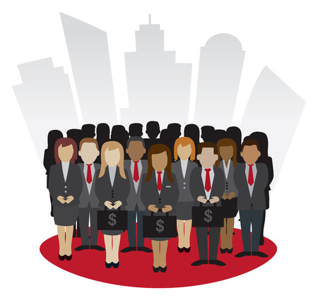 Financial Business Peoples concept vector in front of skycraper