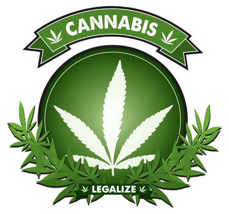 Cannabis marijuana leaf Badge design vector  矢量图像