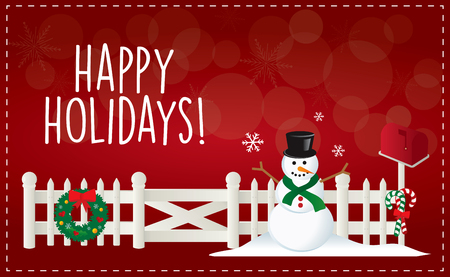 Christmas Happy Holiday illustration with fence and snowman.