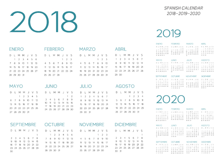 Spanish Calendar 2018-2019-2020 template design.